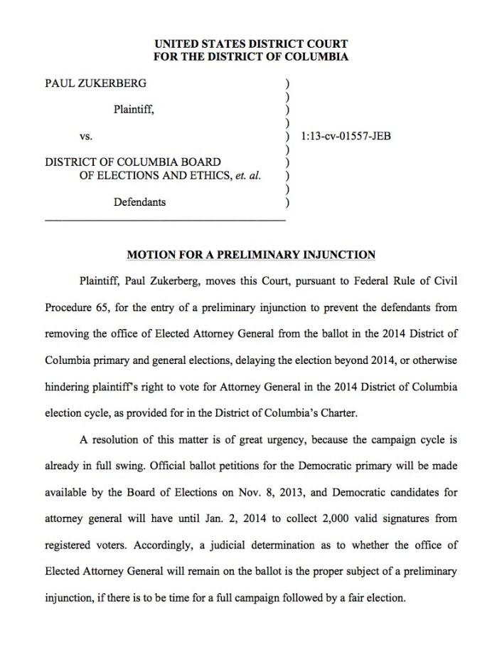 Zukerberg Preliminary Injunction Motion